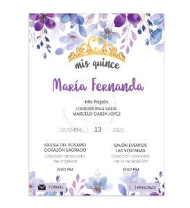 Invitación Quince Años Flores y Corona