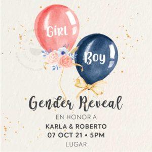 Invitación Gender Reveal Ballons