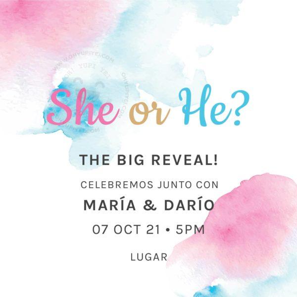 Invitación Digital Gender Reveal She or He