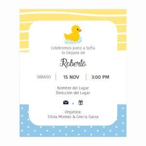 Invitación Baby Shower Patito Amarillo