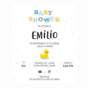 Invitación Baby Shower Patito Splash